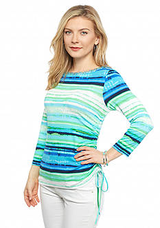 Ruby Rd Petite Keeping It Cool Embellished Striped Knit Top