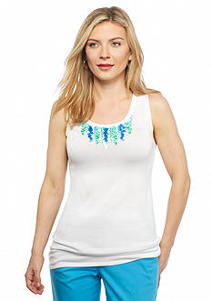 Ruby Rd Petite Keeping It Cool Embellished Sleeveless Shell