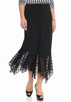 Ruby Rd Modern Tribe Lace Hem Knit Skirt