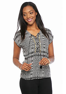 Ruby Rd Modern Tribe Printed Lace Up Peasant Top