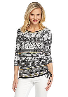 Ruby Rd Modern Tribe Embellished Printed Knit Top