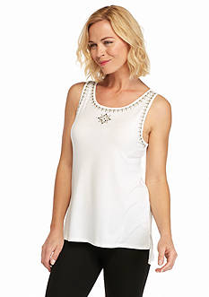 Ruby Rd Modern Tribe Sleeveless Embellished Knit Top