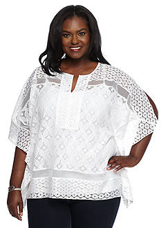Ruby Rd Plus Size Modern Tribe Lace Kimono Top
