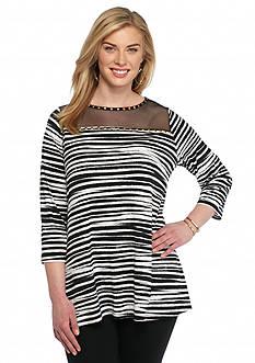 Ruby Rd Plus Size Modern Tribe Zebra Print Knit Top