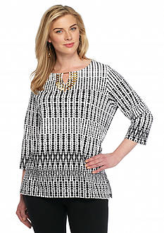 Ruby Rd Plus Size Modern Tribe Embellished Printed Knit Top