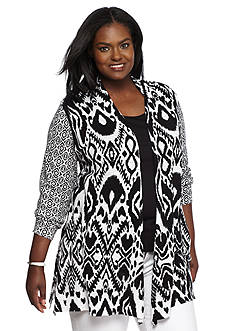 Ruby Rd Plus Size Modern Tribe Printed Cardigan