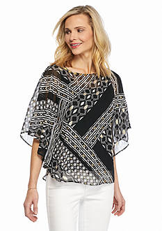 Ruby Rd Petite Modern Tribe Embellished Printed Chiffon Top