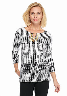 Ruby Rd Petite Modern Tribe Embellished Printed Knit Top