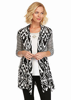 Ruby Rd Petite Modern Tribe Printed Long Cardigan