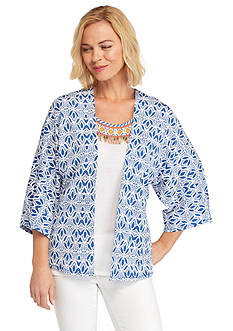 Ruby Rd Summer Solstice Leaf Print Knit Cardigan