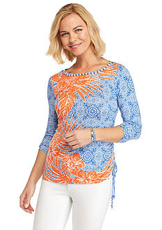 Ruby Rd Summer Solstice Tropical Print Embellished Knit Top