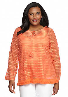 Ruby Rd Plus Size Summer Solstice Lace Fringe Hem Top
