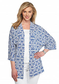 Ruby Rd Plus Size Summer Solstice Leaf Print Knit Cardigan