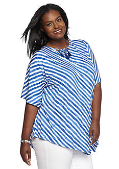Ruby Rd Plus Size Striped Embellished Knit Top