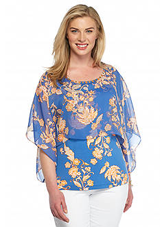 Ruby Rd Plus Size Summer Solstice Printed Chiffon Overlay Top