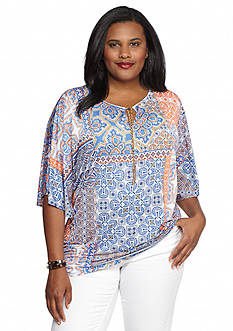 Ruby Rd Plus Size Summer Solstice Printed Knit Top