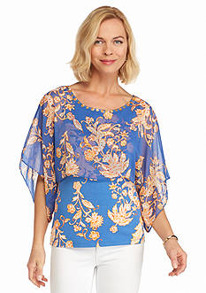 Ruby Rd Petite Summer Solstice Printed Chiffon Overlay Top