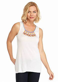 Ruby Rd Petite Summer Solstice Embellished Sleeveless Shell