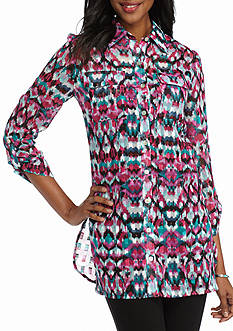 Ruby Rd Petite Prints Please Metallic Jacquard Tunic Top