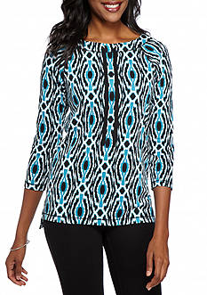 Ruby Rd MH Athleisure Ikat High Low French Terry Top