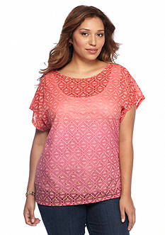 Ruby Rd Plus Size Embellished Scoop Neck Ombre Burnout Knit Top