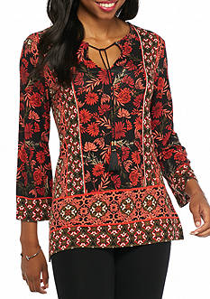 Ruby Rd Gypsy Caravan Floral Print Knit Top