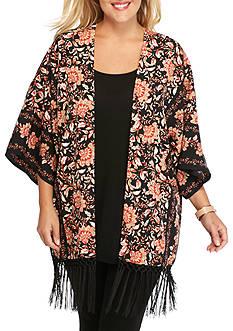 Ruby Rd Plus Size Print Please Short Sleeve Fringe Kimono