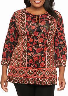 Ruby Rd Plus Size Prints Please Split Neck Floral Knit Top