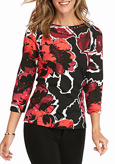 Ruby Rd Must Have Embellished Autumn Floral Print Top