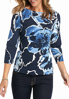 Ruby Rd Petite Must-Have Boat Floral Top
