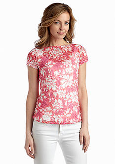 Ruby Rd Rose Print Textured Burnout Tee