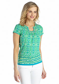 Ruby Rd Must Haves Embellished Border Printed Top