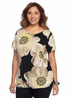Ruby Rd Plus Size Boat Neck Poppy Side Ruch Top
