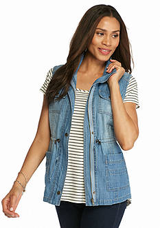 Live a Little Drawstring Denim Vest