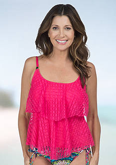 24th and Ocean Dots Crochet Tiered Tankini