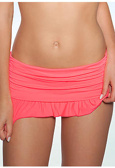 Coco Rave Solid Ruffle Skirted Swim Bottom