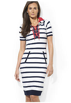 Lauren Active Chelsea Short-Sleeve Hooded Stretch Jersey Lace-Up Dress