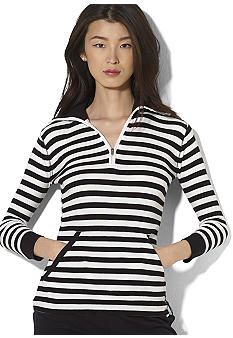 Lauren Active Striped Half-Zip Waffle-Knit Cotton Pullover<br>