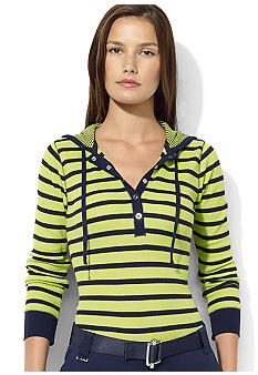 Lauren Active Melisa Striped Waffle-Knit Hoodie