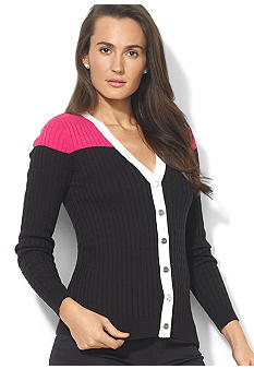 Lauren Active Long-Sleeved Combed Cotton Snapped V-Neck Cardigan
