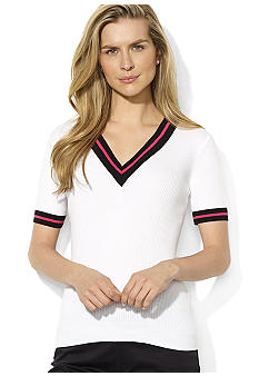 Lauren Active Short-Sleeved V-Neck Sweater