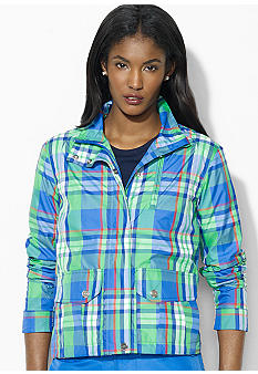 Lauren Active Long-Sleeved Full-Zip Plaid Windbreaker