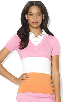 Lauren Active Short-Sleeved Layered Cotton Sweater