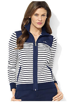 Lauren Active Mockneck Full-Zip Striped Jacket