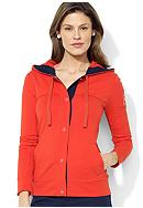 Lauren Active Snapped-Front Hooded Jacket