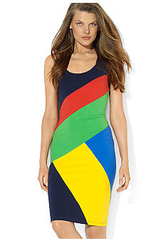 Lauren Active Color-Blocked Sleeveless Dress