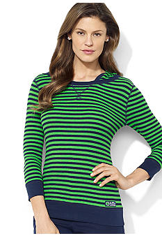 Lauren Active Three-Quarter-Sleeved Striped Waffle-Knit Cotton Hoodie