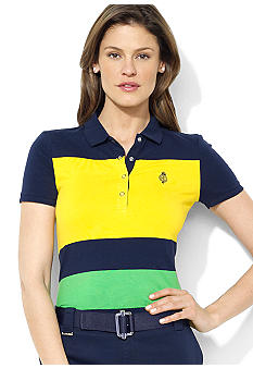 Lauren Active Short-Sleeved Color-Blocked Stretch Cotton Jersey Polo
