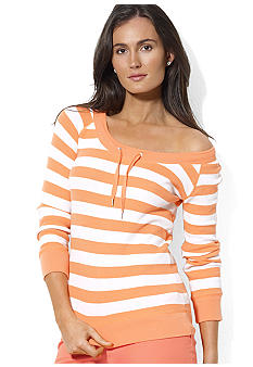 Lauren Active Striped Waffle-Knit Tee