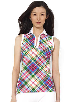 Lauren Active Sleeveless Split-Neck Plaid Polo